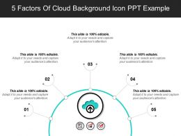 5 Factors Of Cloud Background Icon Ppt Example