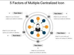 5 Factors Of Multiple Centralized Icon Powerpoint Slide Show