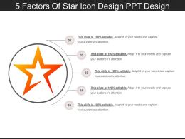5_factors_of_star_icon_design_ppt_design_Slide01