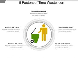 5 Factors Of Time Waste Icon PPT Slides Download