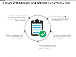 5 Factors With Checklist And Tickmark Performance Icon