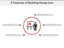 5 Features Of Building House Icon Powerpoint Slide Designs