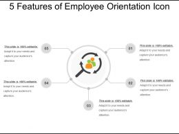 5_features_of_employee_orientation_icon_ppt_presentation_Slide01