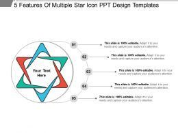 5 Features Of Multiple Star Icon Ppt Design Templates