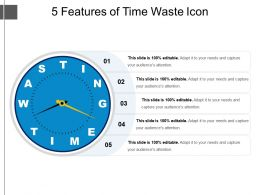 5 Features Of Time Waste Icon Presentation Ideas