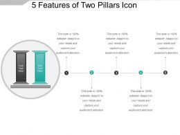 5 Features Of Two Pillars Icon PPT Background Images
