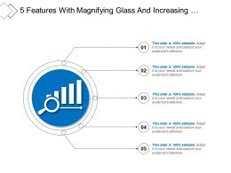 5 Features With Magnifying Glass And Increasing Performance Icon