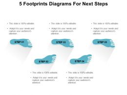 5 Footprints Diagrams For Next Steps Powerpoint Show