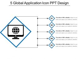5 Global Application Icon Ppt Design
