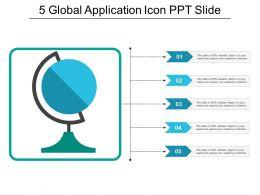 5 Global Application Icon Ppt Slide