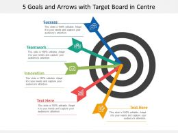 5 Goals And Arrows With Target Board In Centre