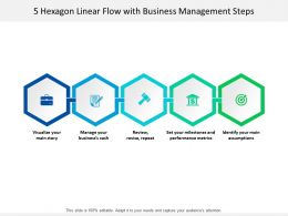 5 Hexagon Linear Flow With Business Management Steps