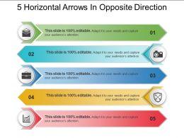 5 Horizontal Arrows In Opposite Direction