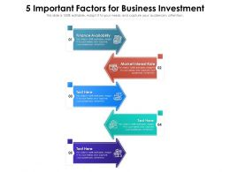 5 Important Factors For Business Investment