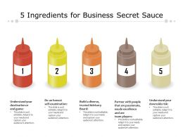 5 Ingredients For Business Secret Sauce