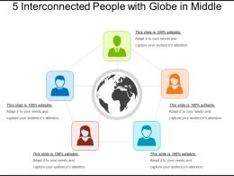 5 Interconnected People With Globe In Middle