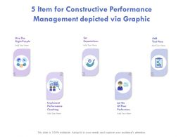 5 Item For Constructive Performance Management Depicted Via Graphics