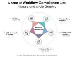 5 Items Of Workflow Compliance With Triangle And Circle Graphic