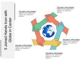 5 Joined Hands Icon With Globe In Center