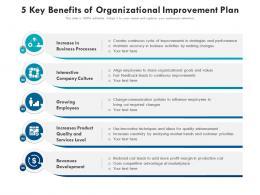 5 Key Benefits Of Organizational Improvement Plan