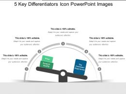 5 Key Differentiators Icon Powerpoint Images