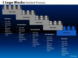 5 Lego Blocks Stacked Process Powerpoint Slides And Ppt Templates DB
