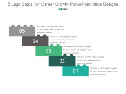 5 Lego Steps For Career Growth Powerpoint Slide Designs