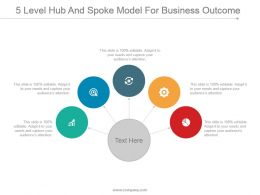 5 Level Hub And Spoke Model For Business Outcome Powerpoint Layout