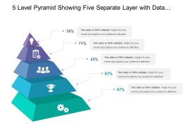 5 Level Pyramid Showing Five Separate Layer With Data Estimate Of Related Category