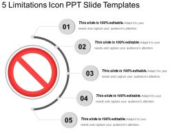 5 Limitations Icon Ppt Slide Templates