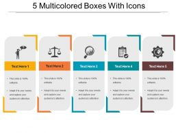 5 Multicolored Boxes With Icons