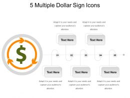 5 Multiple Dollar Sign Icons Powerpoint Slides Design
