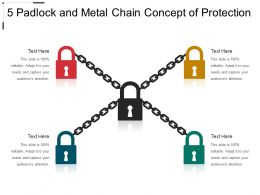 5 Padlock And Metal Chain Concept Of Protection
