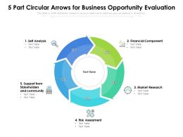 5 Part Circular Arrows For Business Opportunity Evaluation
