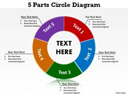 5 parts circle diagram ppt slides presentation diagrams templates powerpoint info graphics