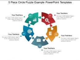 5 Piece Circle Puzzle Example Powerpoint Templates
