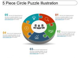 5 Piece Circle Puzzle Illustration Powerpoint Graphics