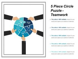 5 Piece Circle Puzzle Teamwork Example Of Ppt
