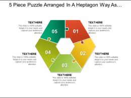 5 Piece Puzzle Arranged In A Heptagon Way As Seven Piece With Empty Centre