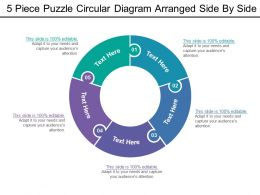 5 Piece Puzzle Circular Diagram Arranged Side By Side