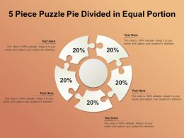 5 Piece Puzzle Pie Divided In Equal Portion
