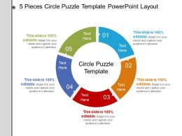 5 Pieces Circle Puzzle Template Powerpoint Layout