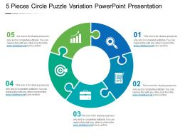 5 Pieces Circle Puzzle Variation Powerpoint Presentation