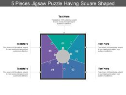 5 Pieces Jigsaw Puzzle Having Square Shaped