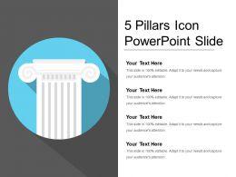 5 Pillars Icon Powerpoint Slide