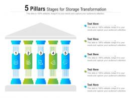 5 Pillars Stages For Storage Transformation Infographic Template
