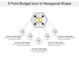 5 Point Budget Icon In Hexagonal Shape