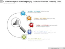 5 Point Description With Magnifying Glass For Overview Summary Slides Ppt Slide