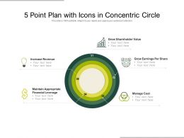 5 Point Plan With Icons In Concentric Circle