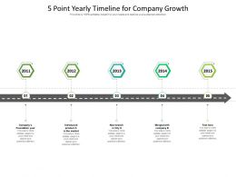 5 Point Yearly Timeline For Company Growth